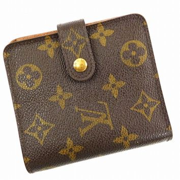 Authentic LOUIS VUITTON Compact Zip Monogram Bi-fold Wallet Brown #X16102