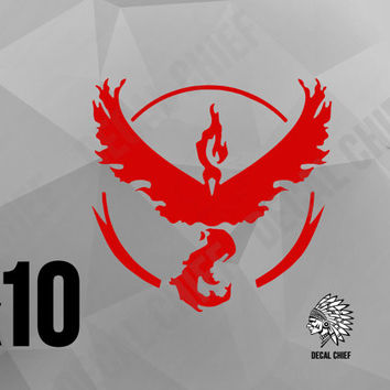 x10 POKEMON GO Team VALOR (Moltres) Decal Vinyl Sticker - Red - High Quality Window Wall Laptop Skateboard Sticker - Same Day Shipping