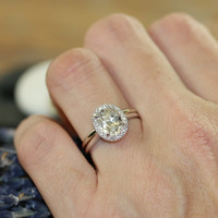 Wedding Set of White Topaz Diamond Halo Engagement Ring and 14k White Gold Plain Wedding Band (Custom Ring Set Available)