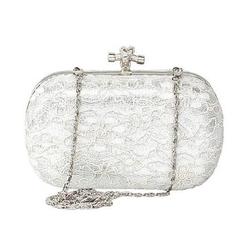 [31.53] In Stock Stainless Steel Shell With Lace White Clutch Bags,Evening Handbags / Clutches - dressilyme.com