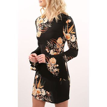 Print Chiffon Autumn Stylish Hot Sale Round-neck Loudspeaker Ladies One Piece Dress [11535890246]