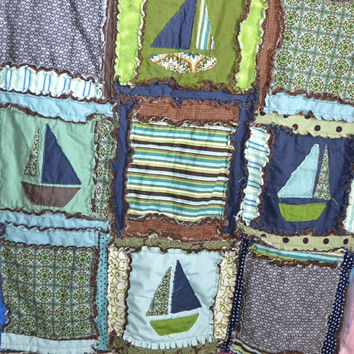 RAG QUILT, Nautifcal Boats for Baby Boy, in Blue, Green, Brown, Made to Order