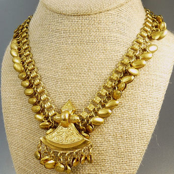 Vintage Egyptian Revival Book Chain Necklace Statement Jewelry