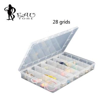 1pcs/lot 28 Grid 35x22x4.8cm Clear Transparent Box Plastic Cosmetic Nail Art Pill Box Case Portable Storage Container Large