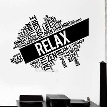Relax Words Vinyl Wall Decal Quotes