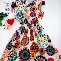 2015 spring summer autumn new Korean Women casual Bohemian floral leopard sleeveless vest printed beach chiffon dress = 1928622084