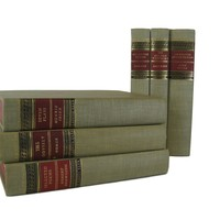 Old Vintage Books for Bookshelf Decor in Red and Neutral Tones, S/6
