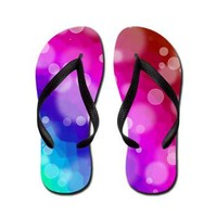 Rainbow Bokeh Pattern Flip Flops> Rainbow Patterned Gifts> Hippy Gift Shop Funky Hippie Gifts