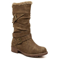 Mid-Calf Double Buckle Low Heel Boots