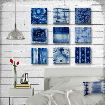 Indigo Tie Dye Batik Glass Wall Art - Handmade Decoupage 5, 6, 7, 8 or 9 inch Set of 9 Square Glass Wall Blocks - I've got the Blues