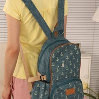 Vintga Anchor Print Canvas Backpack from styleonline