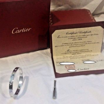 One-nice? Gemstone Cartier Love Bracelet White Gold Size 16 ( New Screw System) OVERNI
