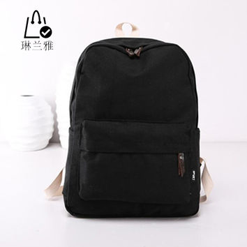 LINLANYA Fashion Backpacks for Men and Women Solid Preppy Style Soft Back Pack Unisex School Bags Big Capicity Canvas Bag Z-109