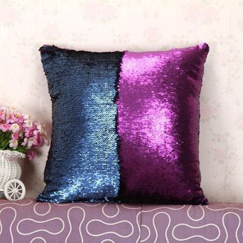 Double sided sequins Decorative pillow Cushion