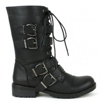 Nikita-02 Black Lace up Combat Ankle Boots - Cutesy Originals