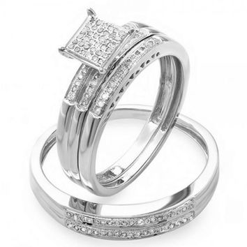 0.20 Carat (ctw) Round Diamond Men   Women s Micro Pave Engageme 7c124df5df76