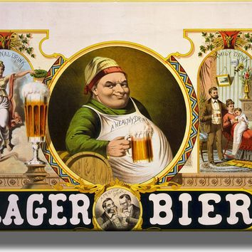 Vintage Lager Bier Beer Picture on Acrylic Wall Art Décor Framed Ready to Hang!