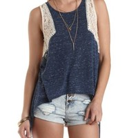 Lace & Slub Knit Open Back Tank Top by Charlotte Russe