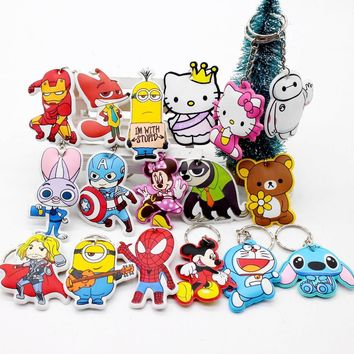 New cotton Anime Cute Minion cartoon Keychain iron Man Cap Key chain Hello Kitty spider holder porte clef cat Ring