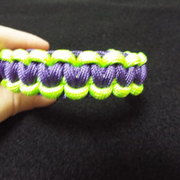 Paracord Bracelet, Handmade Green and Purple Survival / Suvivalist 550 Cord Bracelet / Band done in Cobra Stitch