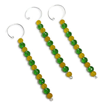Green and Gold Christmas Tree Icicles - Christmas Tree Beaded Ornament Set - Hand Crafted Christmas Decorations - Beaded Holiday Ornaments