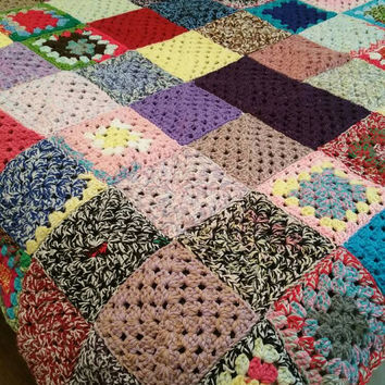 rainbow blanket Afghan  granny square bedding  photography prop girl boy female handmade double bed elderly lap blanket wheelchair