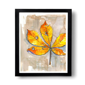 leaf print, 8x10, leaf painting, autumn leaf, autumn print, orange red, watercolor print, fall foliage, leaves watercolor, yellow, orange
