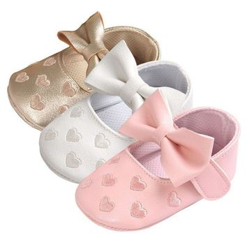 2017 New PU Leather Big Bow Embroidery Love Soft Bottom Kids ShoesNon-slip Baby Shoes