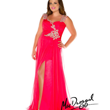 Mac Duggal 2014 Plus Size Prom Dresses - Cherry Crystal Beaded Chiffon Long Gown