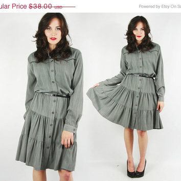 On Sale - 20% Off - vtg 80s grey country WESTERN yoke button up shirt tiered RUFFLE full sweep SWING mini dress L