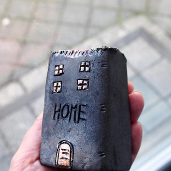 HOME Handmade Black Raku fired Ceramic houses with golden and copper glazes, Hand sculpted and raku or earthenware fired, Raku pottery