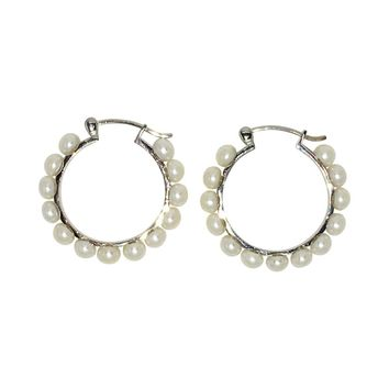 Sterling Silver Cultured Freshwater Pearl Hoop Earrings w/Click-Down Clasp, 1.25 in (32mm Diam)