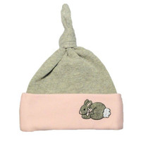 Baby Girls' Pink & Gray Bunny Knotted Hat