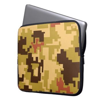 Brown Green Camouflage Pattern Laptop Sleeve