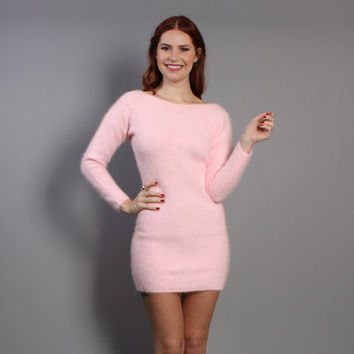 80s ANGORA Sweater DRESS / Pastel Pink Ultra Soft Mini, xs-s