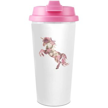 Flower Unicorn Plastic Travel Coffee Cup - 450 ml - Enjoy Your Drinks Everywhere