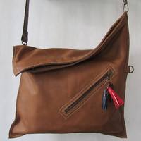 Crossbody bag, Leather cross body purse, Brown leather bag, Foldover, Everyday bag