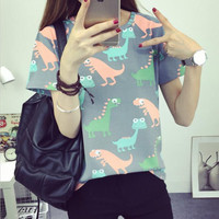 Korean Retro Animal Dinosaur Printing T shirt Women Summer Japanese Harajuku Style Short-sleeved T-shirt Woman Tops S-XL