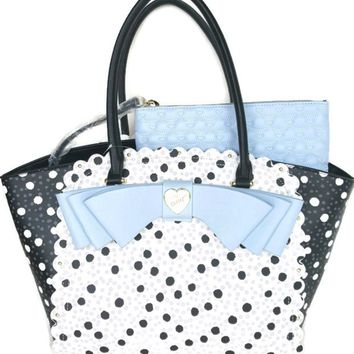 Betsey Johnson TOTE STRIPE SCALLOP BLUE