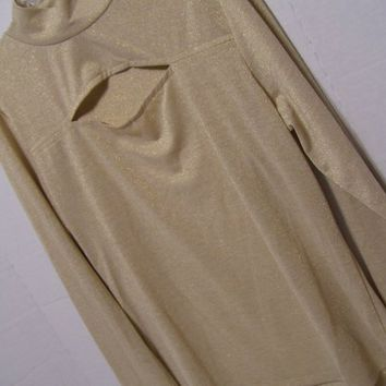 Peek A Boo  Knit Top, Blouse, Gold, Metallic Thread, LEI, Size XL,  Extra Large, Junior, Dressy Casual, Resort Cruise Wear