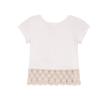 Cool Summer Hollow Out Lace Mosaic Cotton Tops Children Short Sleeve T-shirts [4919894020]