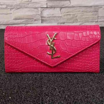 PEAPJ3V YSL Women Fashion Leather Buckle Wallet Purse-14