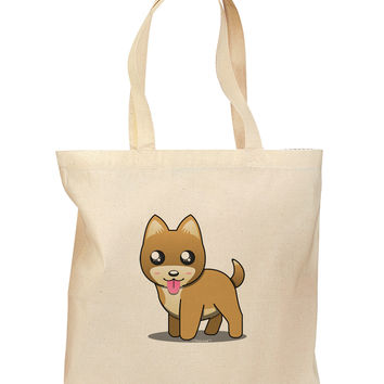 Kawaii Standing Puppy Grocery Tote Bag