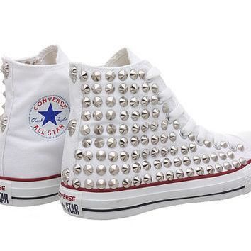 studded converse white converse with silver cone studs oneside studded by customduo