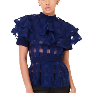 Gracia Take Me Out To Picnic Navy Ruffle Top