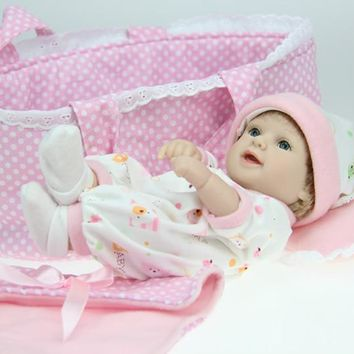 Silicone Baby Dolls mini Soft vinyl with Cradle Daughter Gift 11
