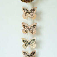 Butterfly Mobile Birch Bark  Hand Stamped by jadenrainspired
