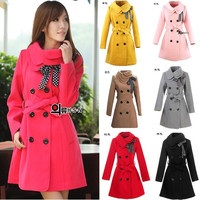 Hot Korean Fashion Women Slim parka coats Winter/Autumn/Spring Outerwear for lady Top Quality Long Trench 7 colors Wool Coat/Jacket = 1956977540