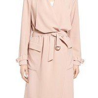 Eliza J Drape Front Water Repellent Wrap Trench Coat | Nordstrom