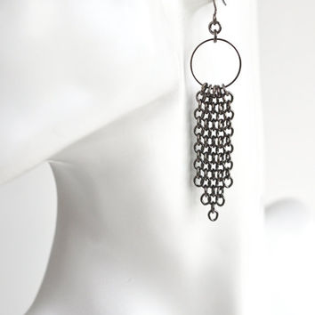 Chain tassel drop earrings, gunmetal hoop tassel earrings, hoop earrings, industrial jewelry, grey urban earrings, metal earrings, for her